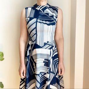 Vtg High Neck Geometric Dress Blue White 8